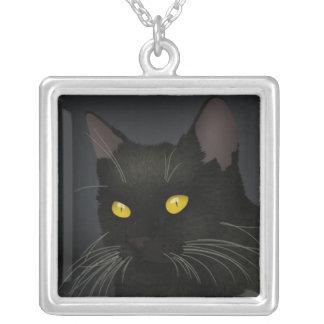 Het zwarte Zilver van de Kat plateerde Vierkant Zilver Vergulden Ketting