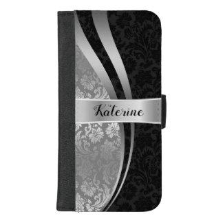 Het zwarte & Zilveren Geometrische Ontwerp van iPhone 8/7 Plus Portemonnee Hoesje