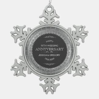 het Zwarte & Zilveren Kant van het 25ste Jubileum Tin Sneeuwvlok Ornament