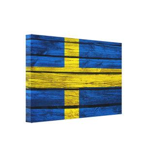 Het Zweedse Rustieke Hout van de Vlag Canvas Afdruk