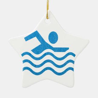 Het zwemmen het Succes zwemt Zwemmer 101 Keramisch Ster Ornament