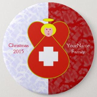 Het Zwitserse Rode Wit van de Blonde van de Engel Ronde Button 6,0 Cm