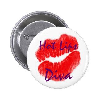 """""""Hete Diva van Lippen"""" in Witte Knoop Ronde Button 5,7 Cm"""