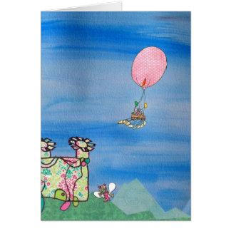 Hete luchtballon boven een magische fee wenskaart
