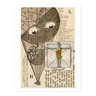 Hete luchtballon met ogen die man bekijken briefkaart