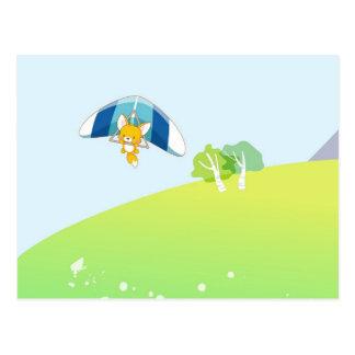 Hete luchtballon op groen en blauwe pastelkleur briefkaart