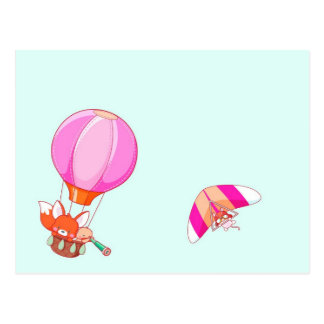 Hete luchtballon op pastelkleur blauwe achtergrond wenskaarten