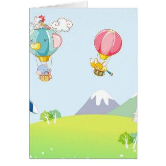 Hete luchtballon op pastelkleur blauwe achtergrond wenskaart