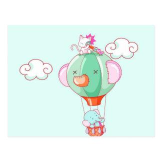 Hete luchtballon op pastelkleur groene achtergrond wens kaart