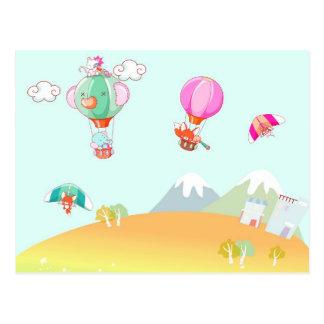 Hete luchtballon op pastelkleurachtergrond wenskaarten