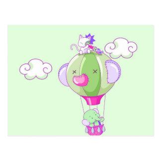 Hete luchtballon op pastelkleurgree briefkaart