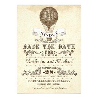 hete luchtballon uniek sparen de datumkaarten