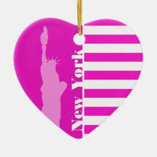 Hete Magenta Roze Strepen; New York Keramisch Hart Ornament