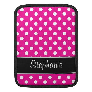 Hete Roze en Witte Gepersonaliseerde Stippen iPad Beschermhoes