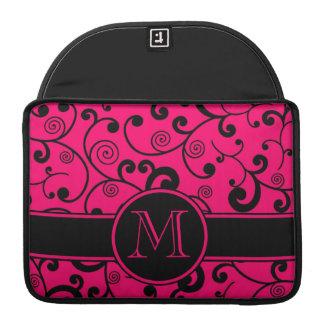 Hete Roze en Zwarte FiligraanRol met Monogram MacBook Pro Sleeves
