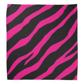 Hete roze en zwarte gestreepte drukbandana voor bandana