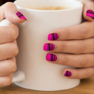 Hete Roze en zwarte Gestreepte strepen Minx Nail Folie