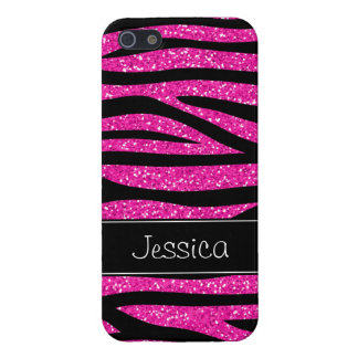 Hete Roze Faux schittert Gepersonaliseerd Zebra iPhone 5 Case