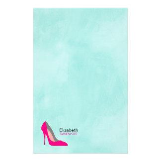 Hete Roze Gepersonaliseerd Elegant van de Schoen Briefpapier