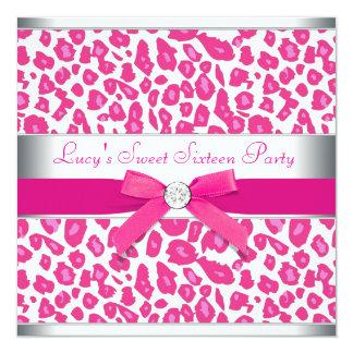 Hete Roze Partij 16 van de Luipaard van de Boog 13,3x13,3 Vierkante Uitnodiging Kaart