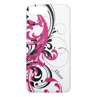 Hete Roze Zwarte Witte Funky Golvende Rol Bloemen iPhone 8/7 Plus Hoesje