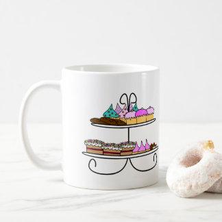 High tea - Mok illustratie met cupcakes en koekjes