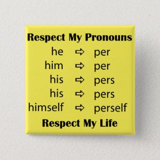 Hij - > per/persoon vierkante button 5,1 cm