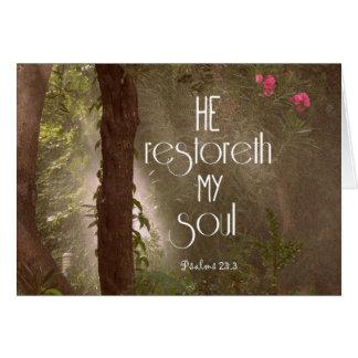 Hij restoreth mijn Vers van de Bijbel van de Ziel Briefkaarten 0