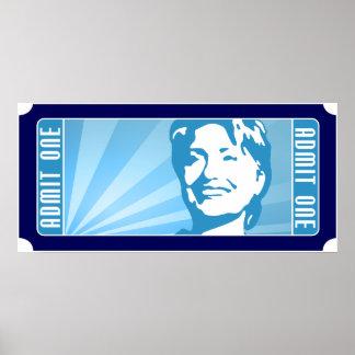 Hillary clinton. het kaartje poster