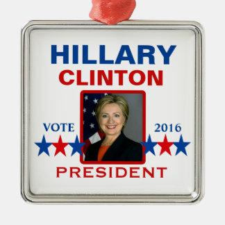 Hillary Clinton voor President 2016 Zilverkleurig Vierkant Ornament
