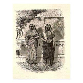 Hindoese dames in Saris, 1890 Briefkaart