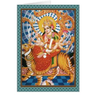 Hindoese Godin Durga met de Kaarten van de Tijger