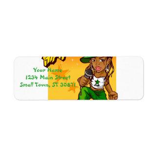 hiphop rapper meisjes groene oranje cartoon retouretiket