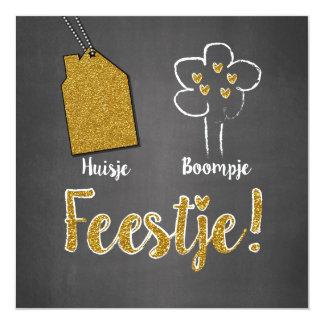 Hippe kaart grijs en goud- Huisje boompje feestje 13,3x13,3 Vierkante Uitnodiging Kaart