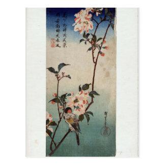 Hiroshige: Kleine Vogel op een Tak van Kaidozakura Briefkaart