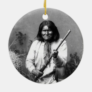 Historische Iconische Inheemse Indiaan Geronimo Rond Keramisch Ornament