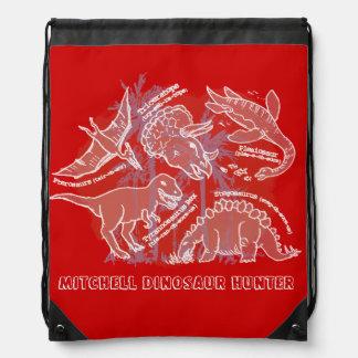 Hoe u dinosaurus rode genoemde drawstring zak zegt trekkoord rugzakje