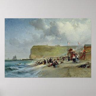 Hoepelrokken op het Strand, Fecamp, 1871 Poster