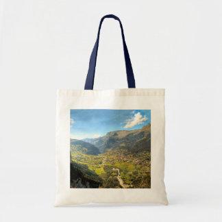 Hoge vallei in de bergen budget draagtas