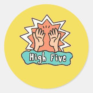 Hoge Vijf Stickers met een gele achtergrond
