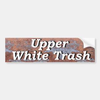Hoger Wit Afval op een Roestige Strook van Metaal Bumpersticker