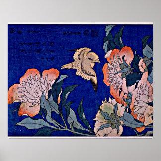 Hokusai: Kanarie en Pioen Poster