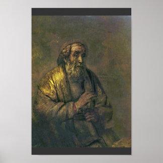 Homerus. Door Rembrandt Van Rijn (Beste Kwaliteit) Poster