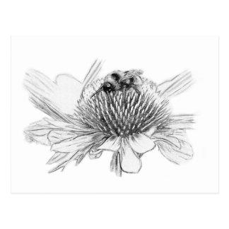 Hommel en bloem briefkaart
