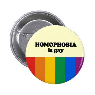 Homophobia is vrolijk ronde button 5,7 cm