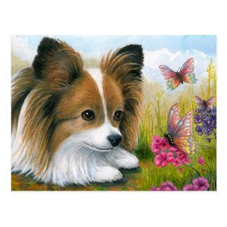 Hond 123 hond Papillon met Vlinders Briefkaart