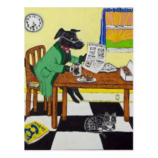 Hond die van Koffie en Donuts genieten Briefkaart