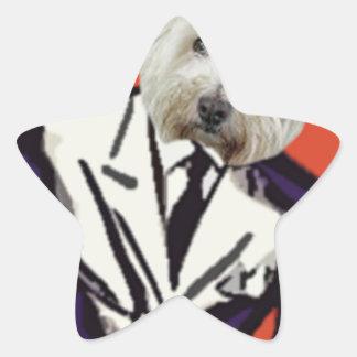 Hond in een kostuum stervormige stickers
