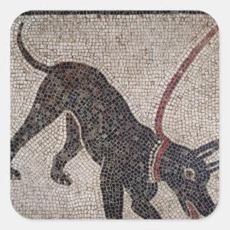 Hond op een leiband, van Pompei Vierkante Sticker
