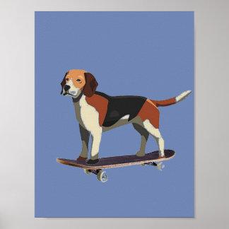 Hond op Skateboard, Brak, het Poster van het Denim